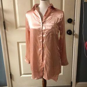 Satin Long Shirt Dress